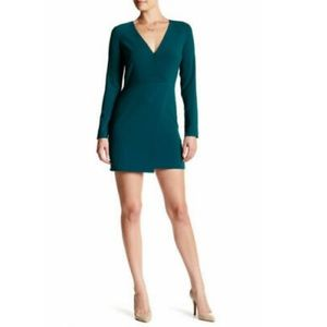 Halston Heritage Teal V neck long sleeve dress NWT